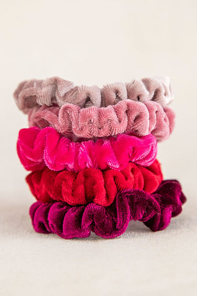 Red Pink Velvet Set of 5 Scrunchies - Natural Life