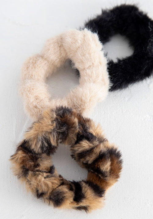 Black Tan Set of 3 Fuzzy Scrunchie - Natural Life