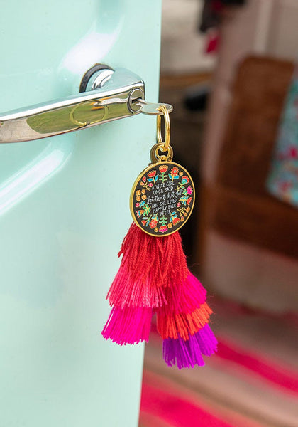 Wise Girl Enamel Keychain - Natural Life