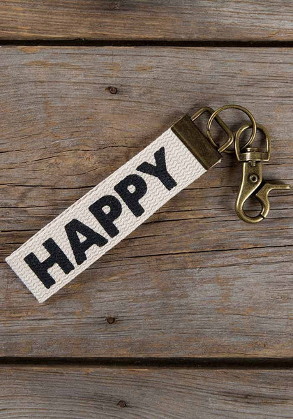 "Natural Life ""Happy"" Canvas Key Fob"