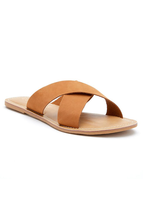 Matisse: Pebble Nubuck Slide Sandal - Tan