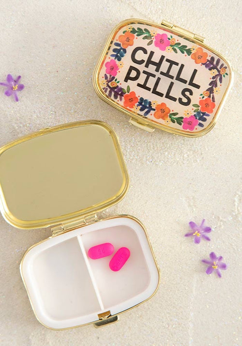 Cream Floral Chill Pills Pill Box - Natural Life