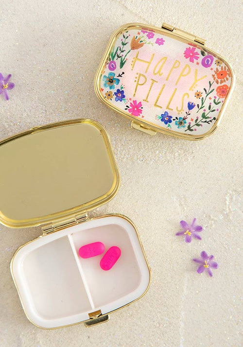 Pink Floral Happy Pills Pill Box - Natural Life