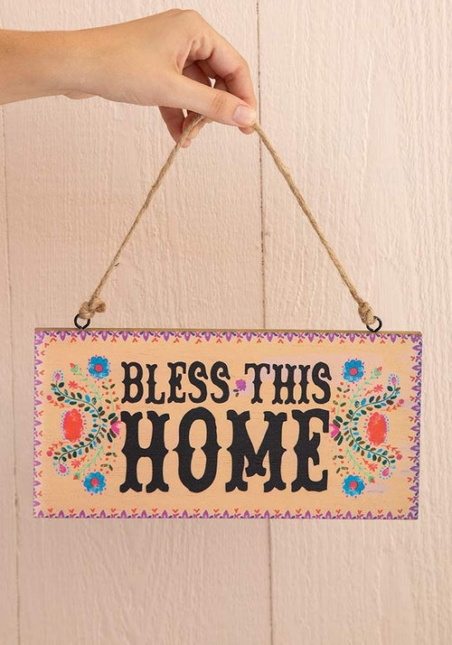 Bless This Home Wooden Wall Hanging - Natural Life