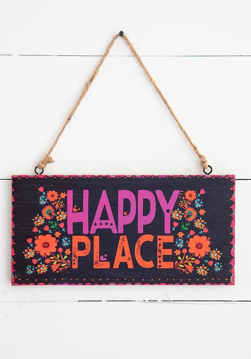 Happy Place Wooden Wall Hanging - Natural Life