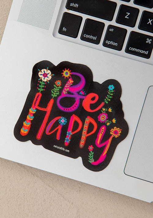 Be Happy Floral Vinyl Sticker - Natural Life