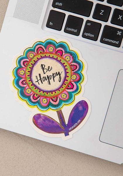 Be Happy Flower Vinyl Sticker - Natural Life