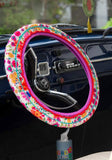 Natural Life Hot Pink Floral Steering Wheel Cover