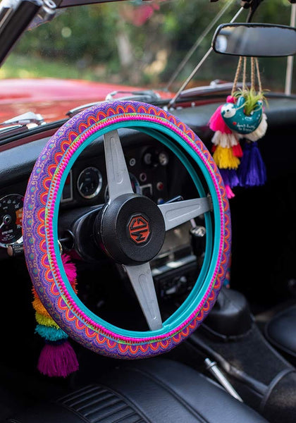 Rainbow Border Steering Wheel Cover - Natural Life