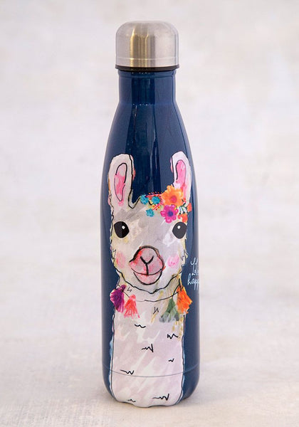 Happy Floral Llama Water Bottle - Natural Life