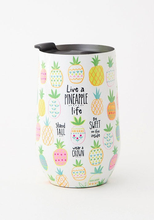 Live a Pineapple Life Wine Tumbler - Natural Life