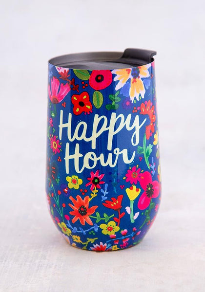 Happy Hour Floral Wine Tumbler - Natural Life