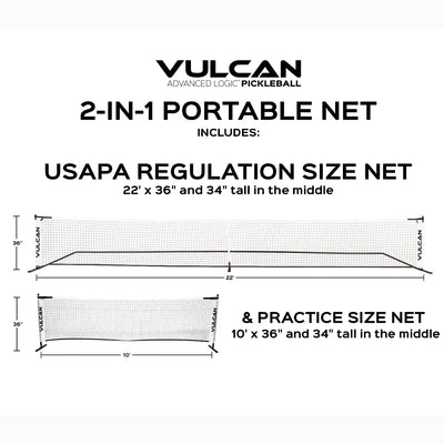 Vulcan Pickleball 2-in-1 Portable Net System | Vulcan Sporting Goods Co.