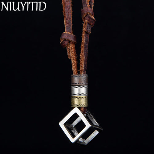 Mens Cube Necklace and Genuine Leather Rope Necklace