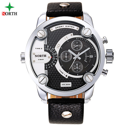 Men Sports Watch Quartz Dual Time Clock