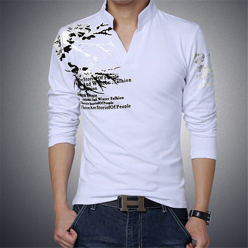 Stand Collar Mens Long Sleeve Fitted Shirt