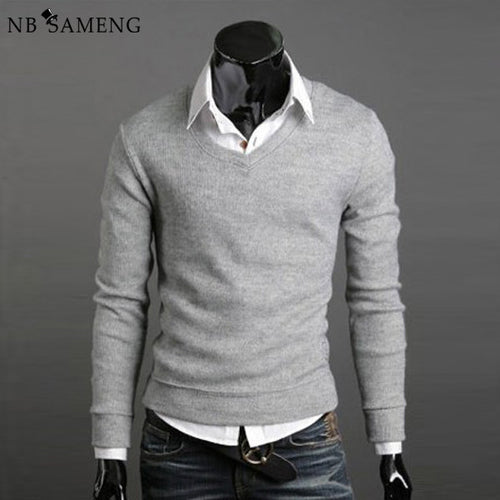 Casual Knitted V Neck Pullover Sweater