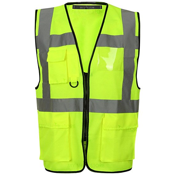 Multi Pocket Zipped Hi Vis Vest EN ISO 20471 - SuperStuff Workwear
