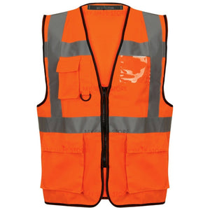 Multi Pocket Zipped Hi Vis Vest Orange EN ISO 20471 GO/RT 3279/RIS-3279-TOM - SuperStuff Workwear