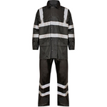 High Visibility Hooded Rainsuit Black - SuperStuff Workwear