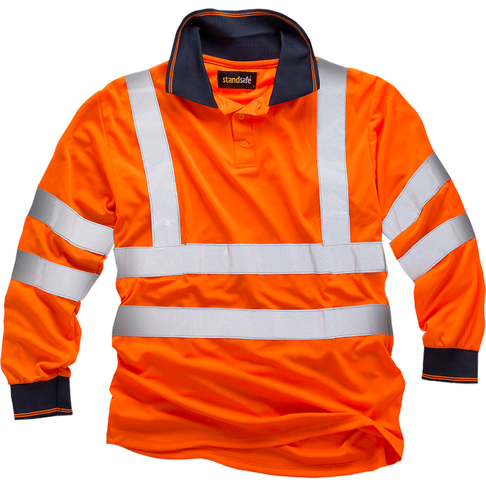 Orange Long Sleeve Hi Vis Polo Shirt EN ISO 20471 GO/RT 3279/RIS-3279-TOM