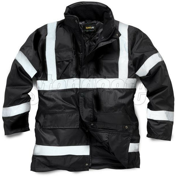 Black Parka Security Jacket EN343 - SuperStuff Workwear