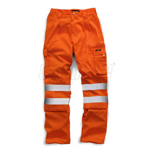 HI VIS POLYCOTTON Work TROUSER Orange EN ISO 20471 GO/RT 3279/RIS-3279-TOM - SuperStuff Workwear