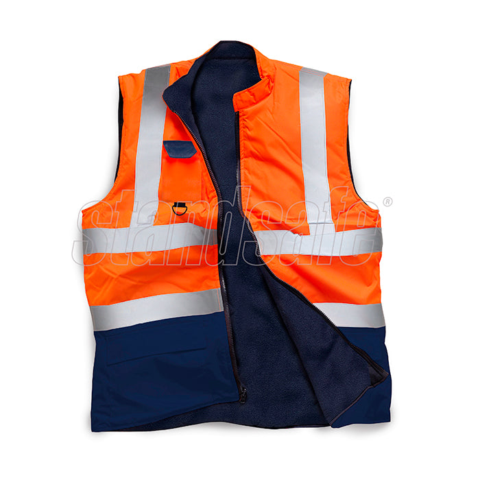Orange Two Tone Hi Vis Bodywarmer EN ISO 20471 - SuperStuff Workwear