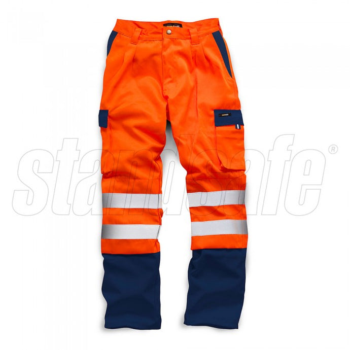 HI VIS 2 TONE POLYCOTTON TROUSER Orange EN ISO 20471 GO/RT 3279/RIS-3279-TOM - SuperStuff Workwear