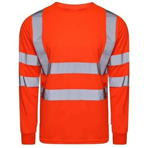Hi Vis Long Sleeve Crew Neck T-Shirt Orange EN ISO 20471 GO/RT 3279/RIS-3279-TOM - SuperStuff Workwear