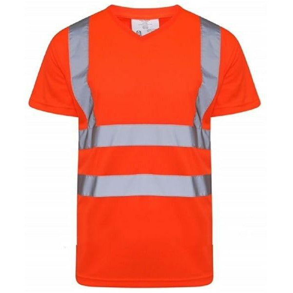 Hi Vis V Neck T-Shirt Orange EN ISO 20471 GO/RT 3279/RIS-3279-TOM - SuperStuff Workwear