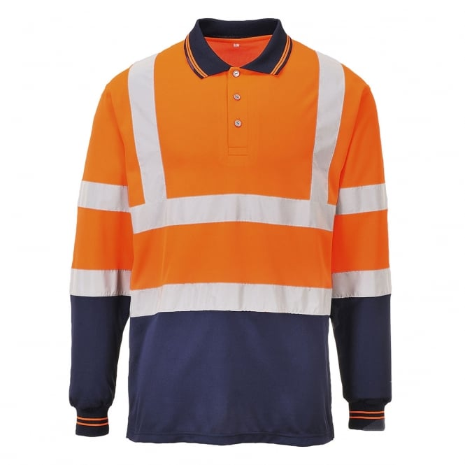 Hivis Two Tone Long Sleeve Polo Shirt  EN ISO 20471 GO/RT 3279/RIS-3279-TOM