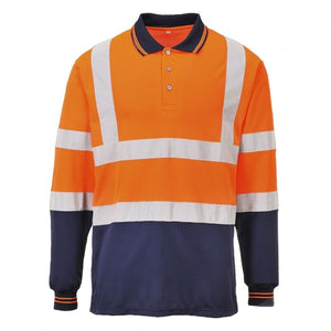 Hivis Two Tone Long Sleeve Polo Shirt Orange EN ISO 20471 GO/RT 3279/RIS-3279-TOM