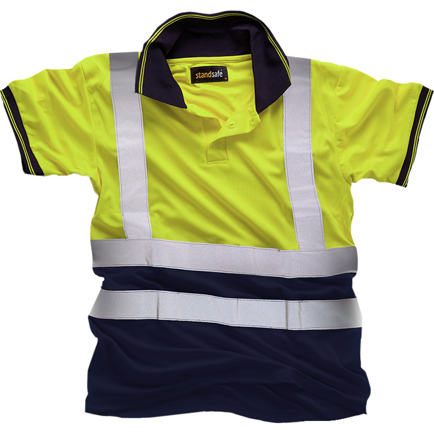 Hi Vis Yellow  2Tone Polo Shirt EN ISO 20471