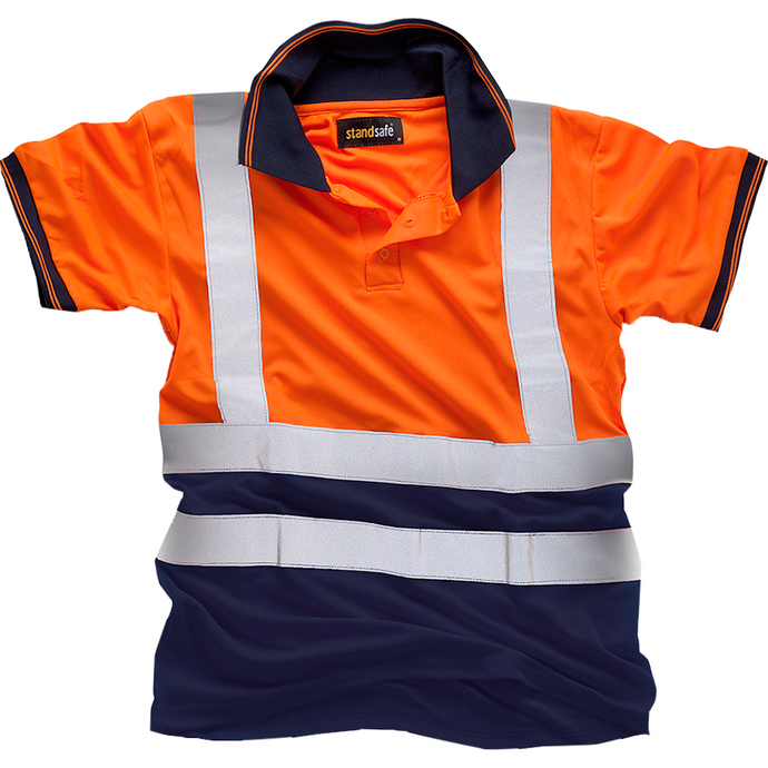 Hi Vis Orange 2Tone Polo Shirt EN ISO 20471
