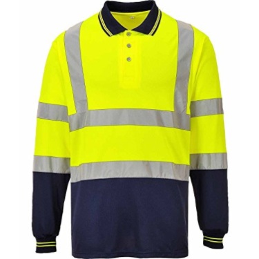 Hivis Two Tone Long Sleeve Polo Shirt EN ISO 20471 - SuperStuff Workwear