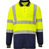 Hivis Two Tone Long Sleeve Polo Shirt Orange EN ISO 20471 GO/RT 3279/RIS-3279-TOM - SuperStuff Workwear