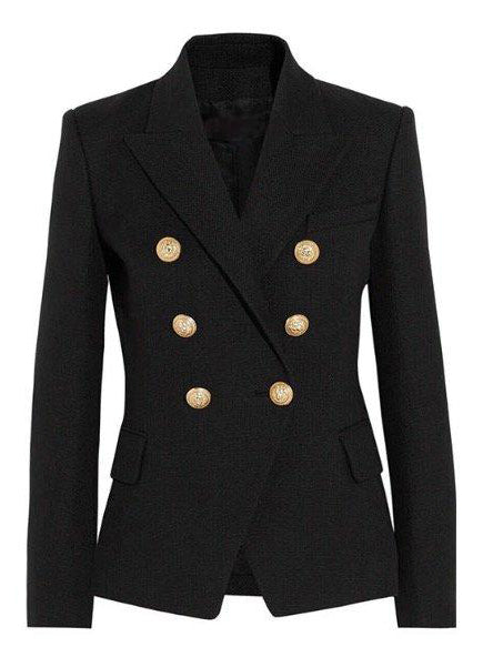 Double Breasted Blazer with Gold Hardware - Black