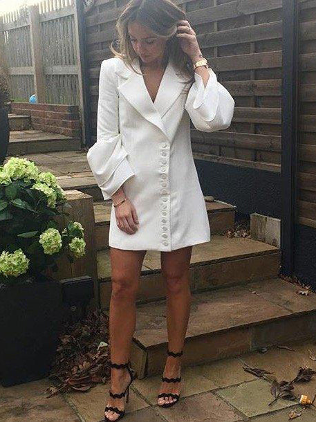 Bell Sleeve Tux Dress - White