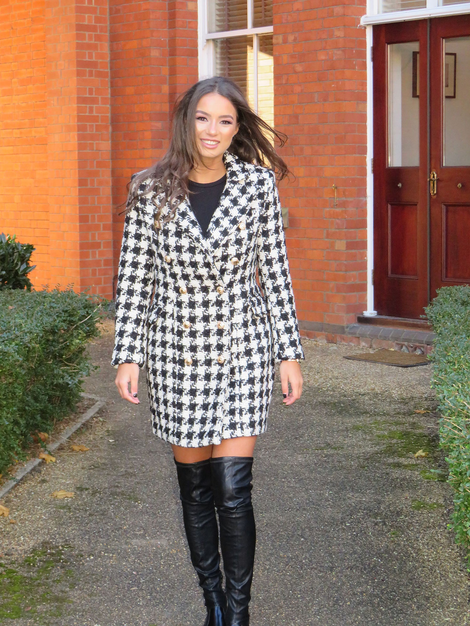 Houndstooth Coat with Gold Hardware