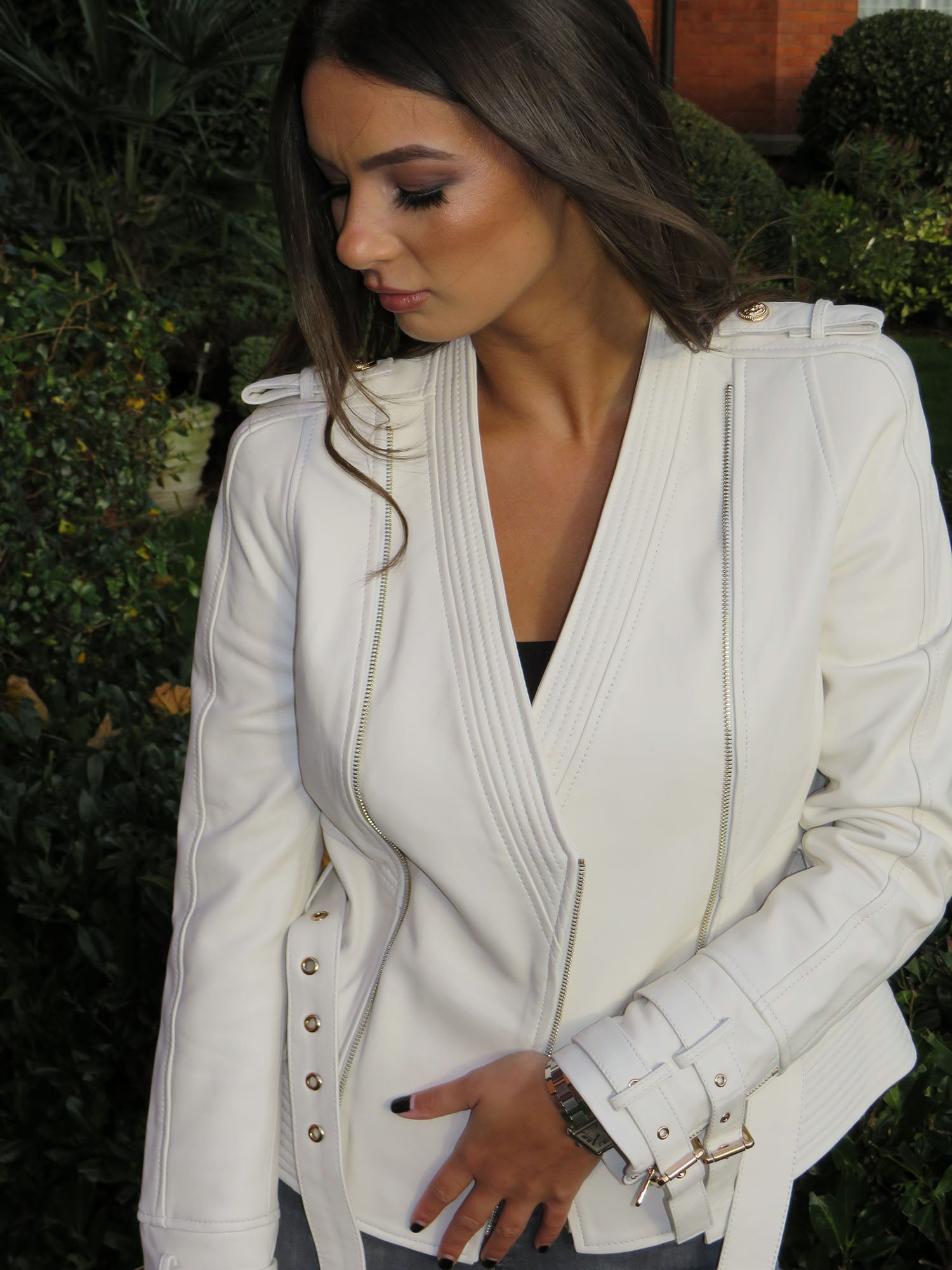 7bc2a2fdc Kate Leather Jacket with Gold Hardware