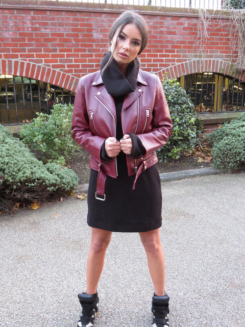 Victoria Leather Biker - Wine Red
