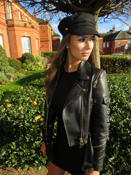 Gigi Leather Biker with Gold Hardware