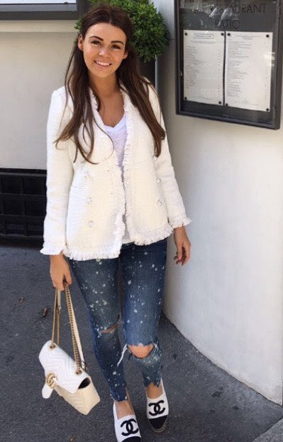 Tweed Blazer with Pearl Buttons - White