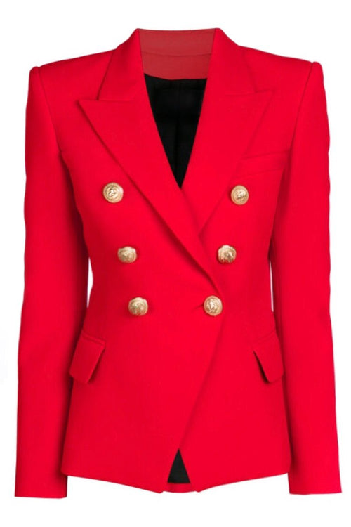 Double Breasted Blazer with Gold Hardware - Red