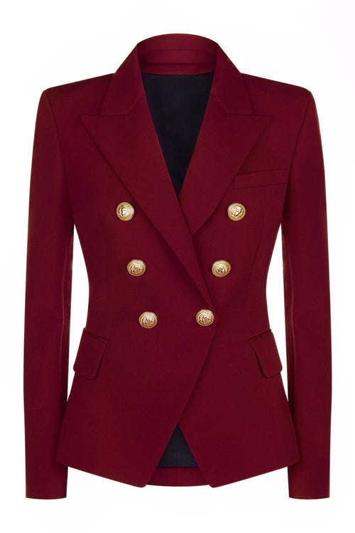 Double Breasted Blazer with Gold Hardware - Wine Red