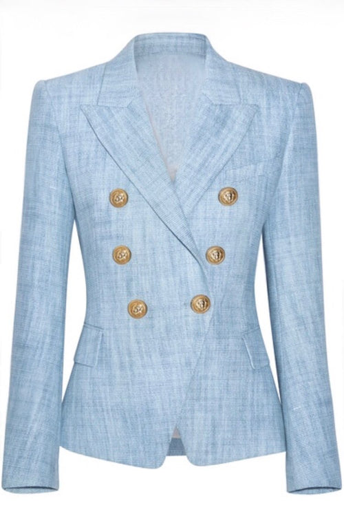 Double Breasted Blazer with Gold Hardware - Blue