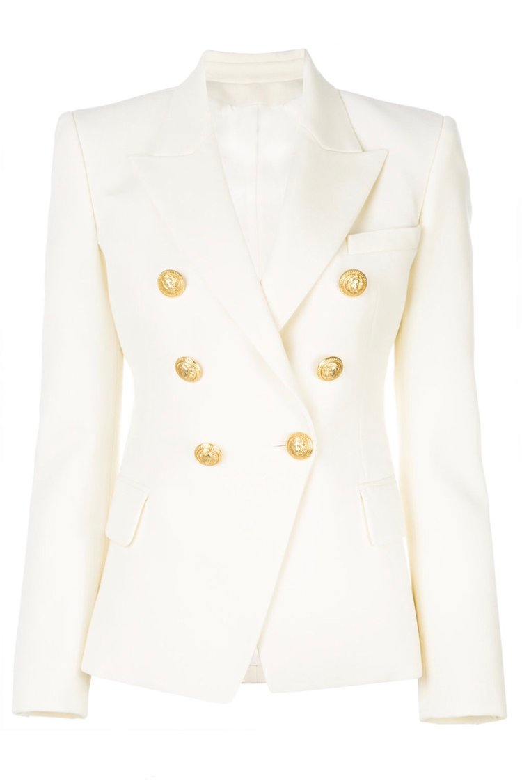 Double Breasted Blazer with Gold Hardware - White