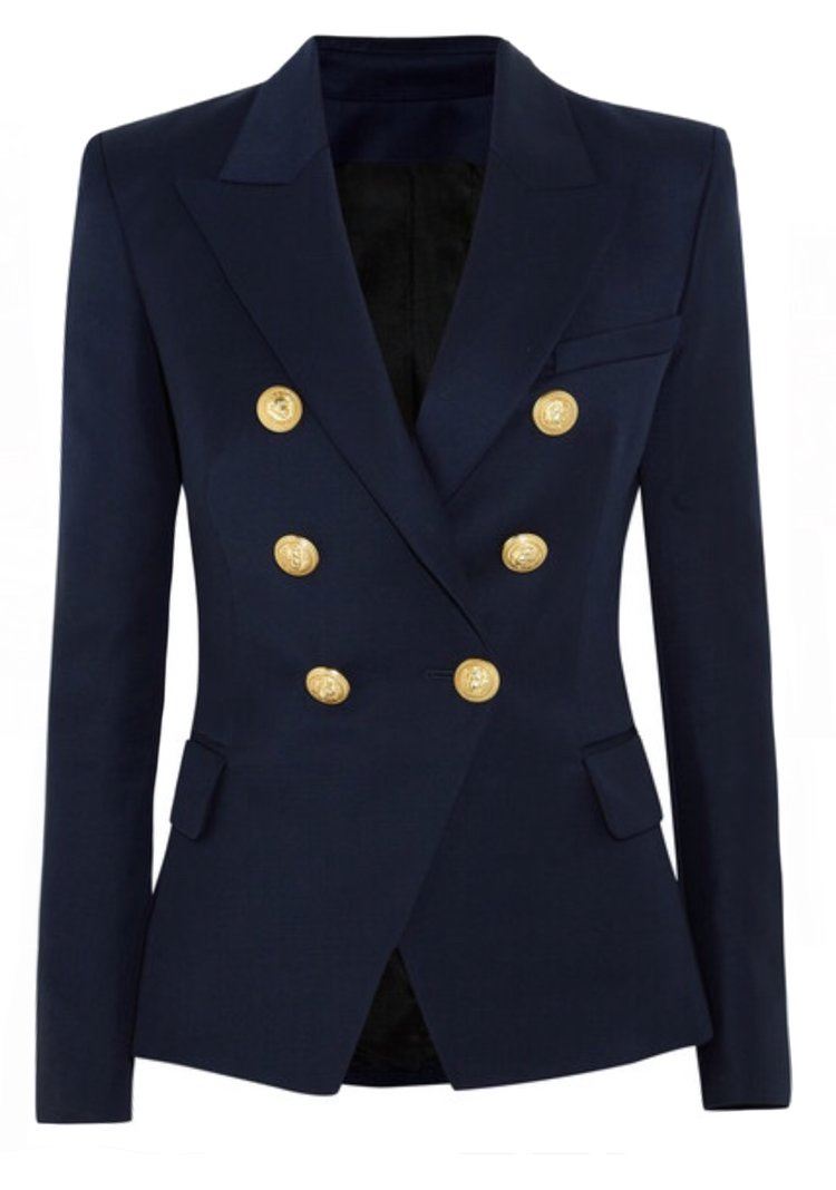 SALE Double Breasted Blazer with Gold Hardware - Navy