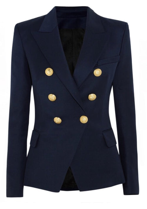 Double Breasted Blazer with Gold Hardware - Navy